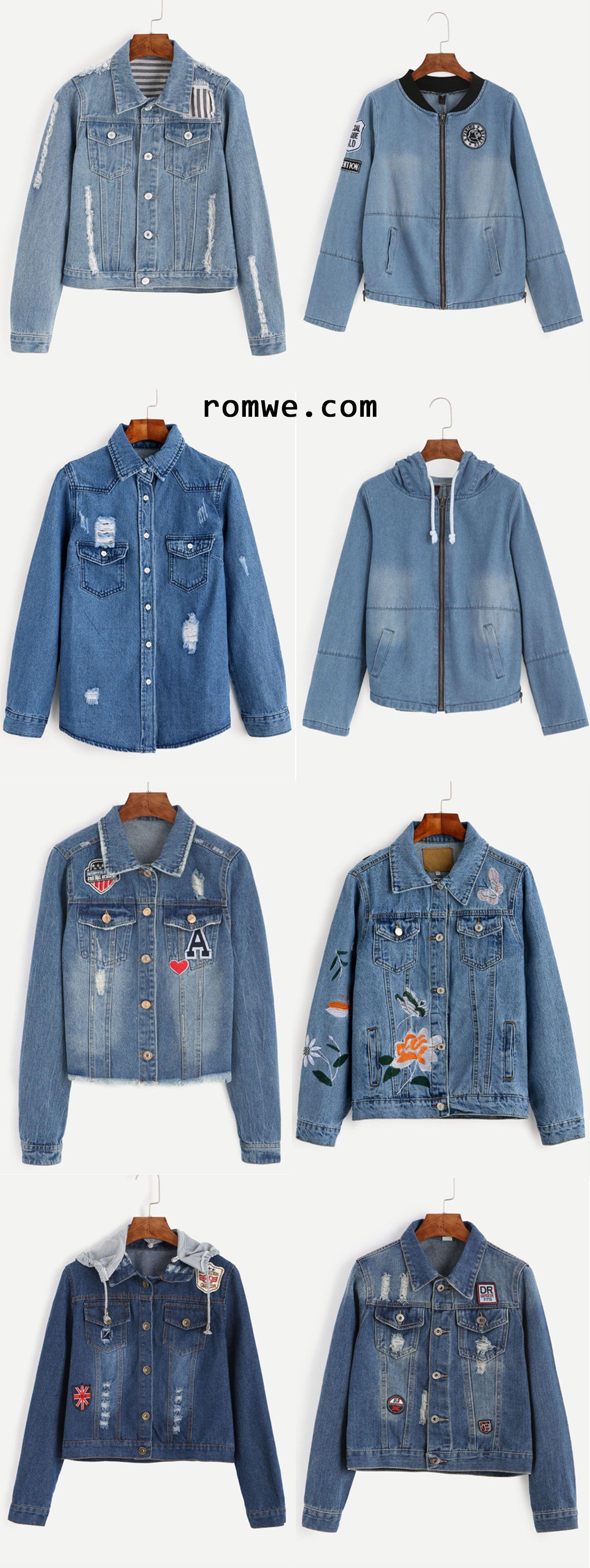 Denim Jackets Street Fashion Romwe Com Denim Fashion Denim Jacket Diy Denim Jacket [ 3988 x 1500 Pixel ]