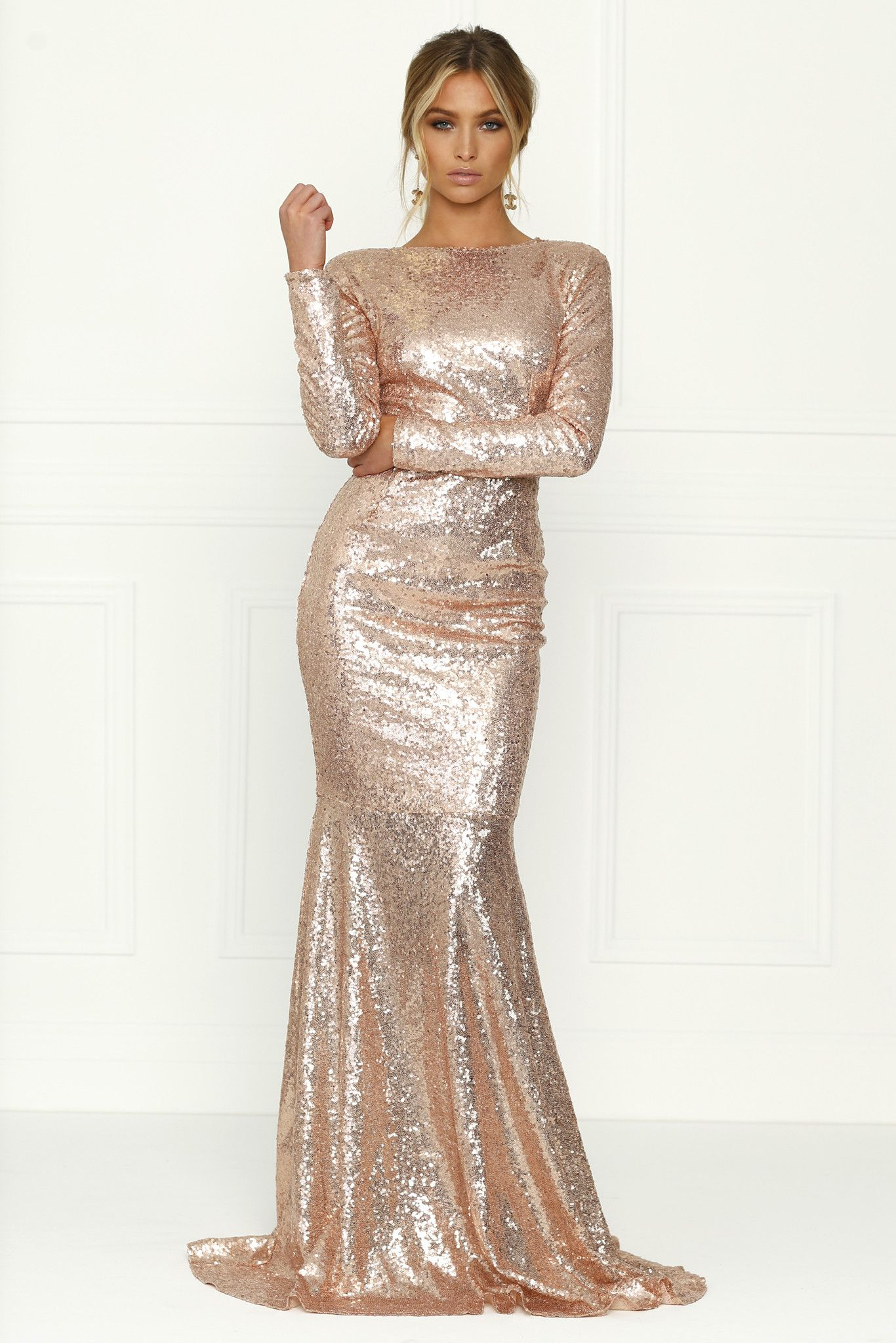 Honey couture viva rose gold sequin long sleeve maxi formal gown