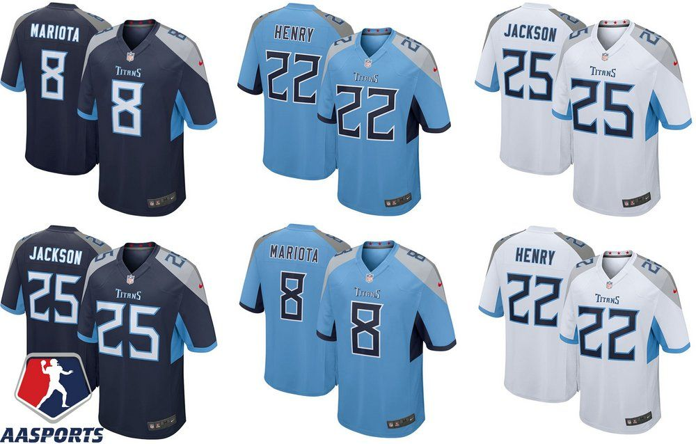 e702200ee Camisa Tennessee Titans - 8 Marcus Mariota - 22 Derrick Henry - 25 Asa  Jackson