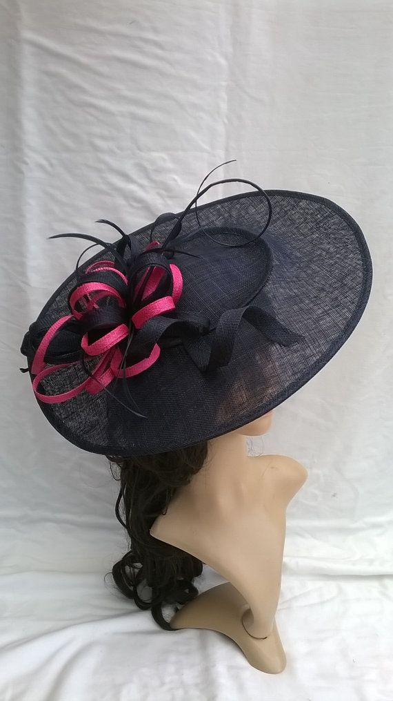 fdb9e50c0ff Navy Fascinator..Stunning Navy Sinamay by SpecialDayfascinator £73.99 large  hatinator. many different colour trims available.