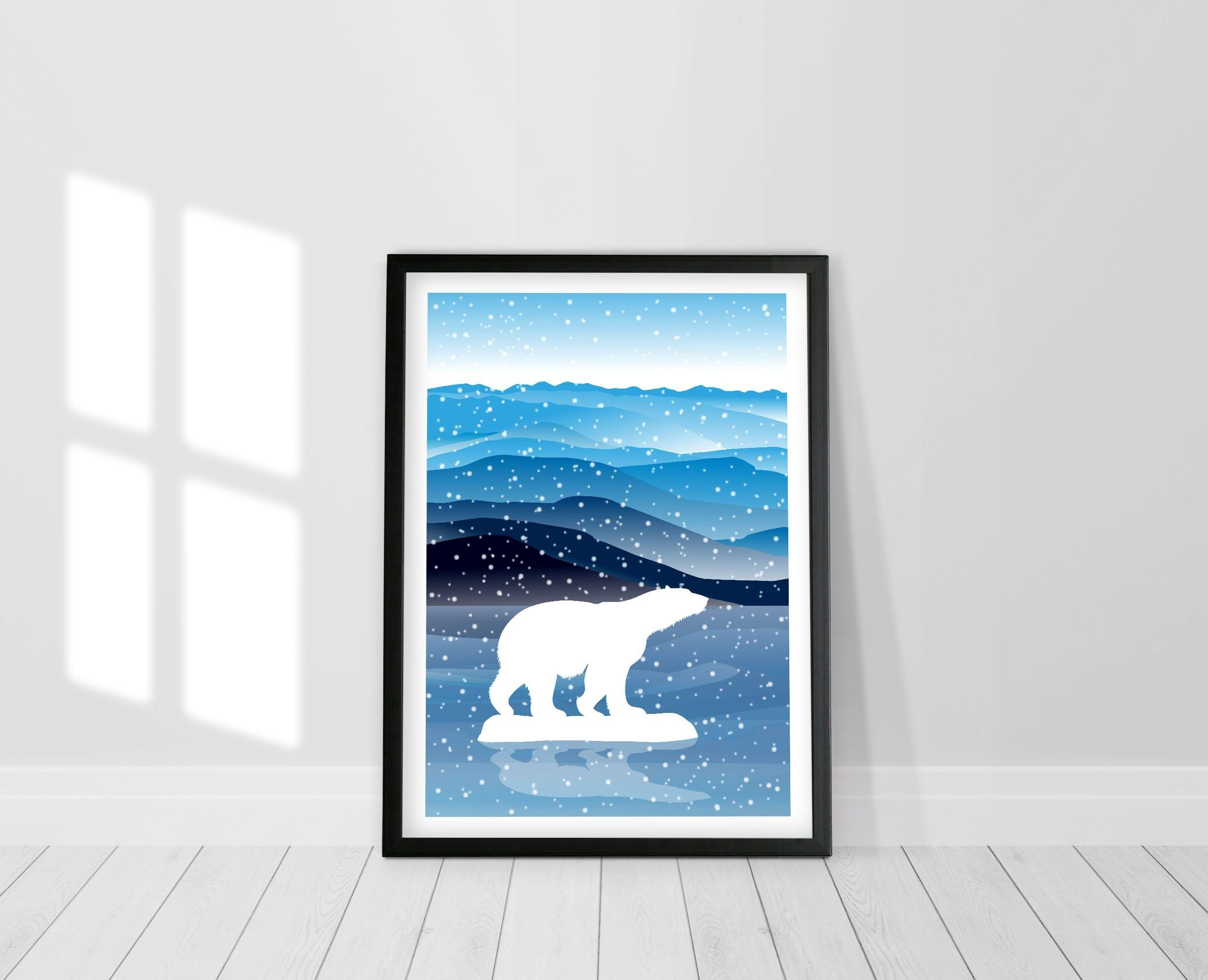 Bear Decor Polar Bear on ice print Scandinavian Wall Art Modern Scandinavian Art Nursery Print Nordic Minimalist Poster Print