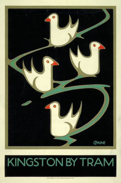 London Underground transport vintage advertising poster by Charles Paine, 1920