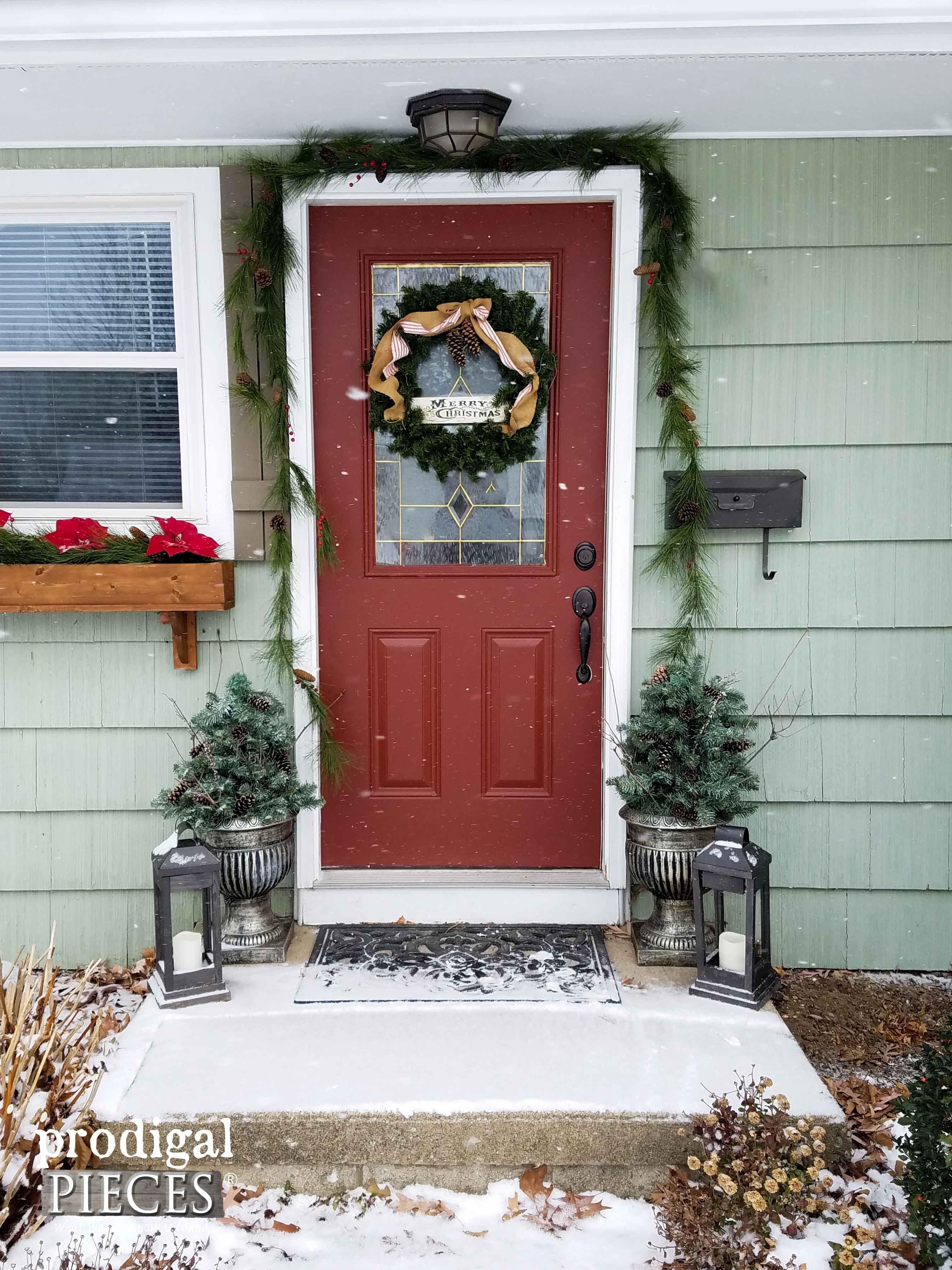 DIY Winter Urn Made with Repurposed Materials | Front door decor ...