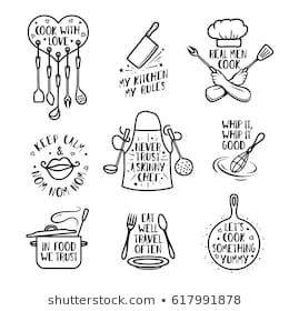 Hand Drawn Kitchen Quotes Set Phrases And Funny Sayings About