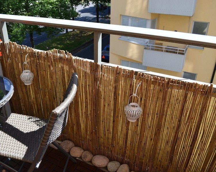Bambus Balkon Sichtschutz Bambusmatten Weisse Kerzenlaternen