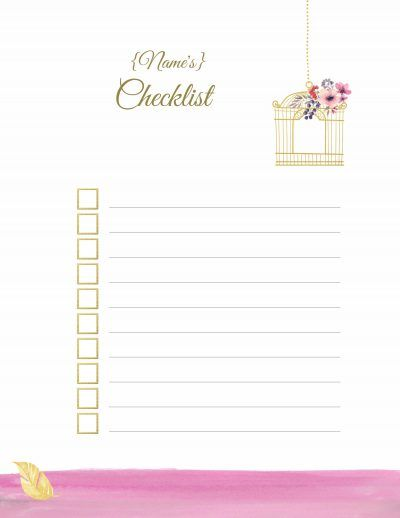 Free printable checklist The title and the actual checklist can be