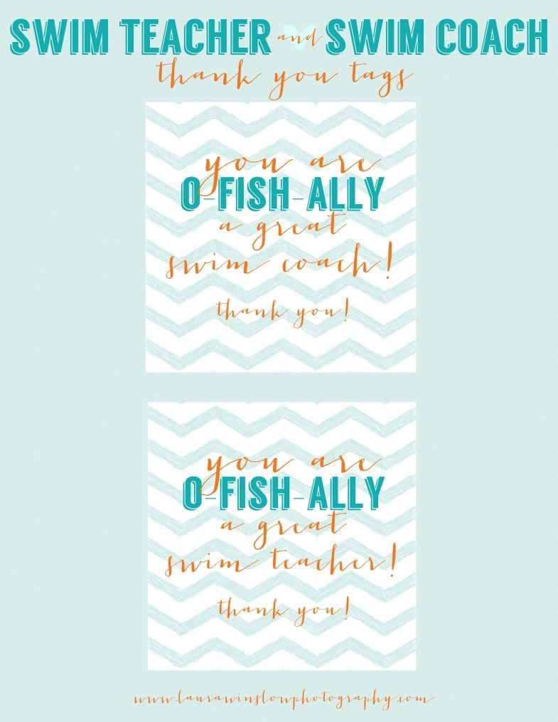 Swim Coach + Swim Teacher THANK YOU TAGS #printable | Swim | Pinterest