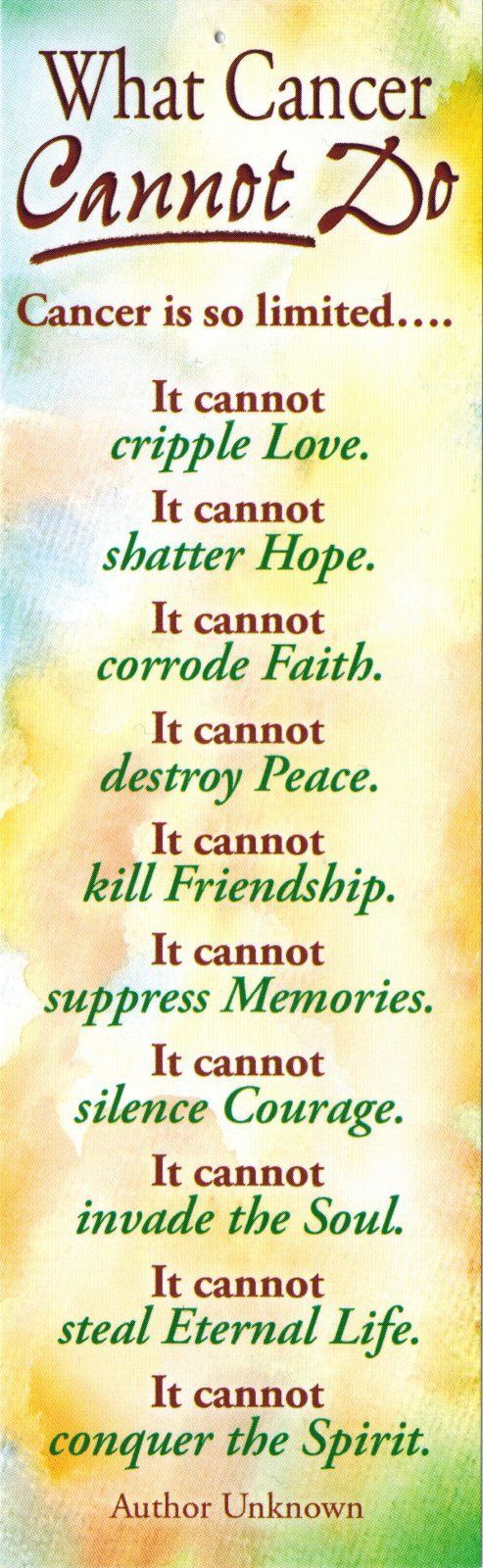 What Cancer Cannot Do Health Wellness Cancer Quotes Lung
