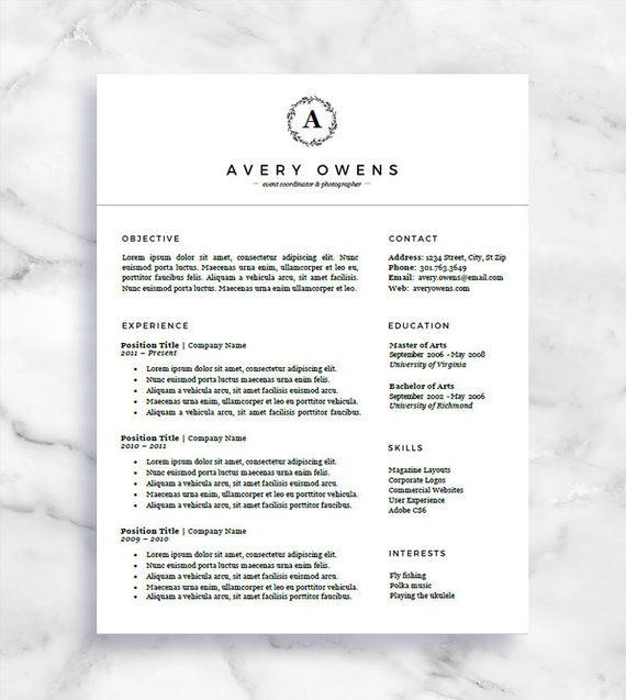 Curriculum Vitae Template CV Template One Page Resume For Word
