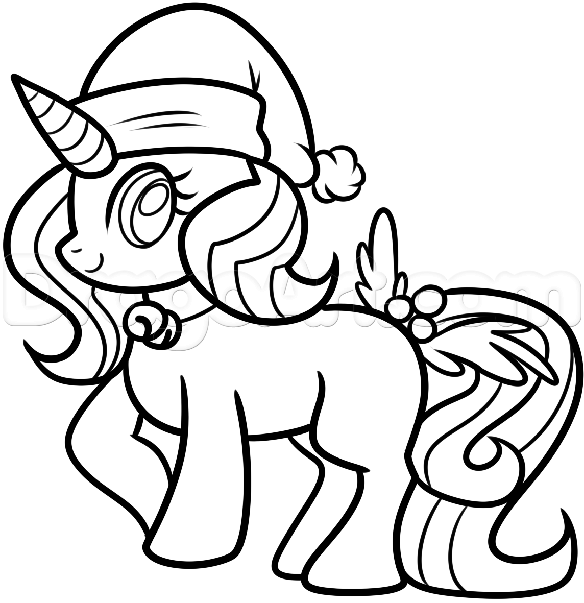 How To Draw A Christmas Unicorn Step By Step Christmas Stuff Seasonal Free Online Drawing Tutorial Unicorn Drawing Christmas Unicorn Unicorn Coloring Pages