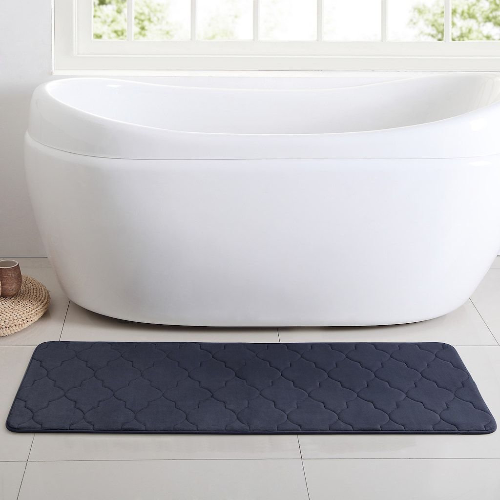 Vcny Memory Foam Bath Mat Runner Blue 24x60 Bath Mat Runner Bath Mat Memory Foam