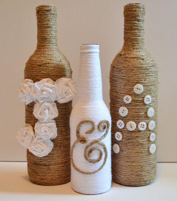Bottle Decorations Custom Twine Wrapped Wine Bottles  Rustic Wedding Decor
