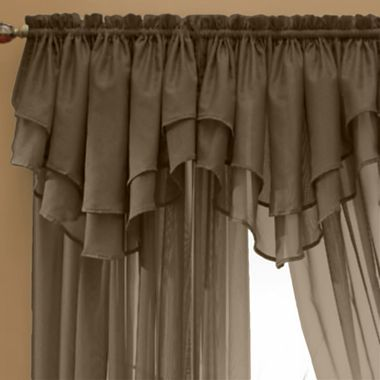 Jcp Home Snow Voile Rod Pocket Layered Ascot Valance Jcpenney