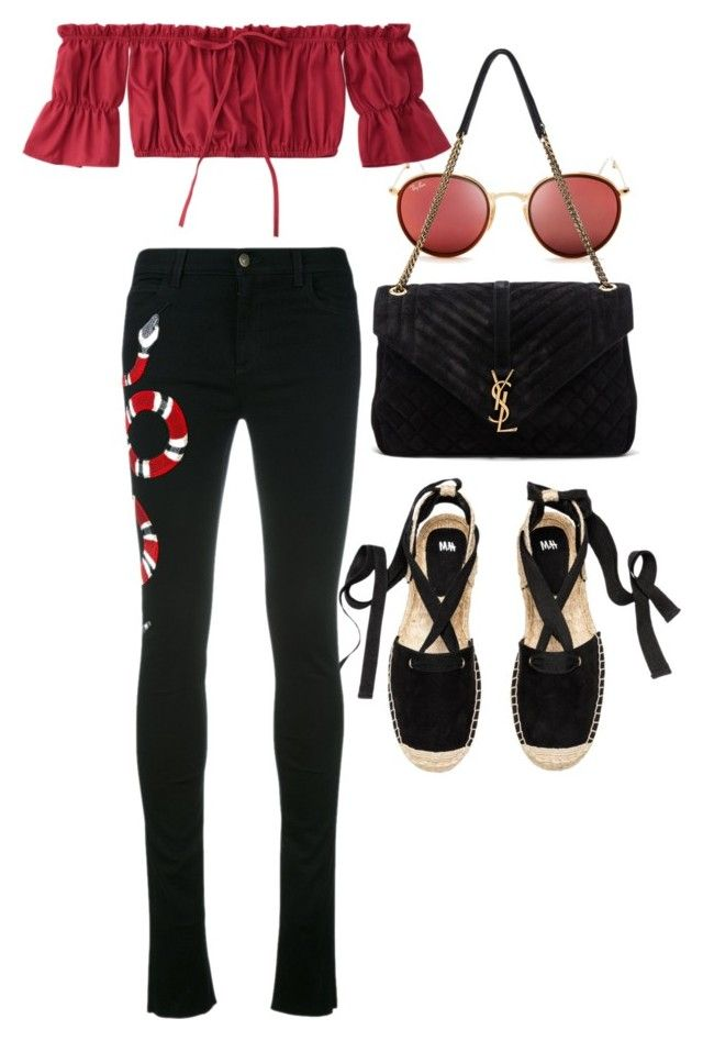 """""""Untitled #21586"""" by florencia95 ❤ liked on Polyvore featuring Ray-Ban, Yves Saint Laurent and Gucci"""
