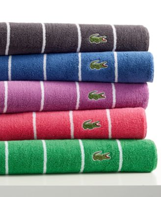 Lacoste Sport Stripe 13 X 13 Washcloth Green Striped Bath Towels Towel Collection Towel
