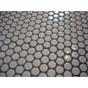 White Penny Tile With Dark Gray Grout