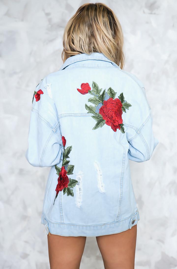Just Us Rose Patch Denim Jacket Denim Jacket Patches Rose Patch Denim Diy Denim Jacket [ 1096 x 720 Pixel ]