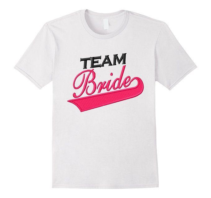Amazon.com: Team Bride Shirt Black Pink Bachelorette Wedding ...