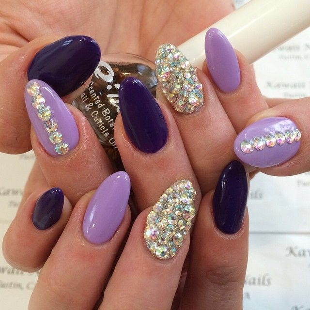 Purple and Lavender Nails with Silver Glitter and ...