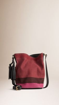 44ff3c79395 The Small Ashby in Overdyed Canvas Check and Leather Plum | Burberry ...