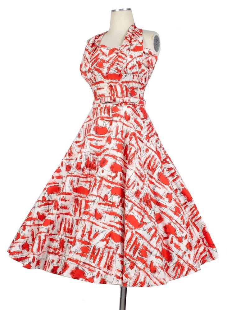 Vintage 50s Halter Full Skirt Party Dress Modernist Matador NOVELTY ...