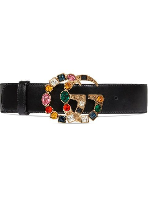 edc5a852f9c Gucci Leather Belt With Crystal Double G Buckle in 2019