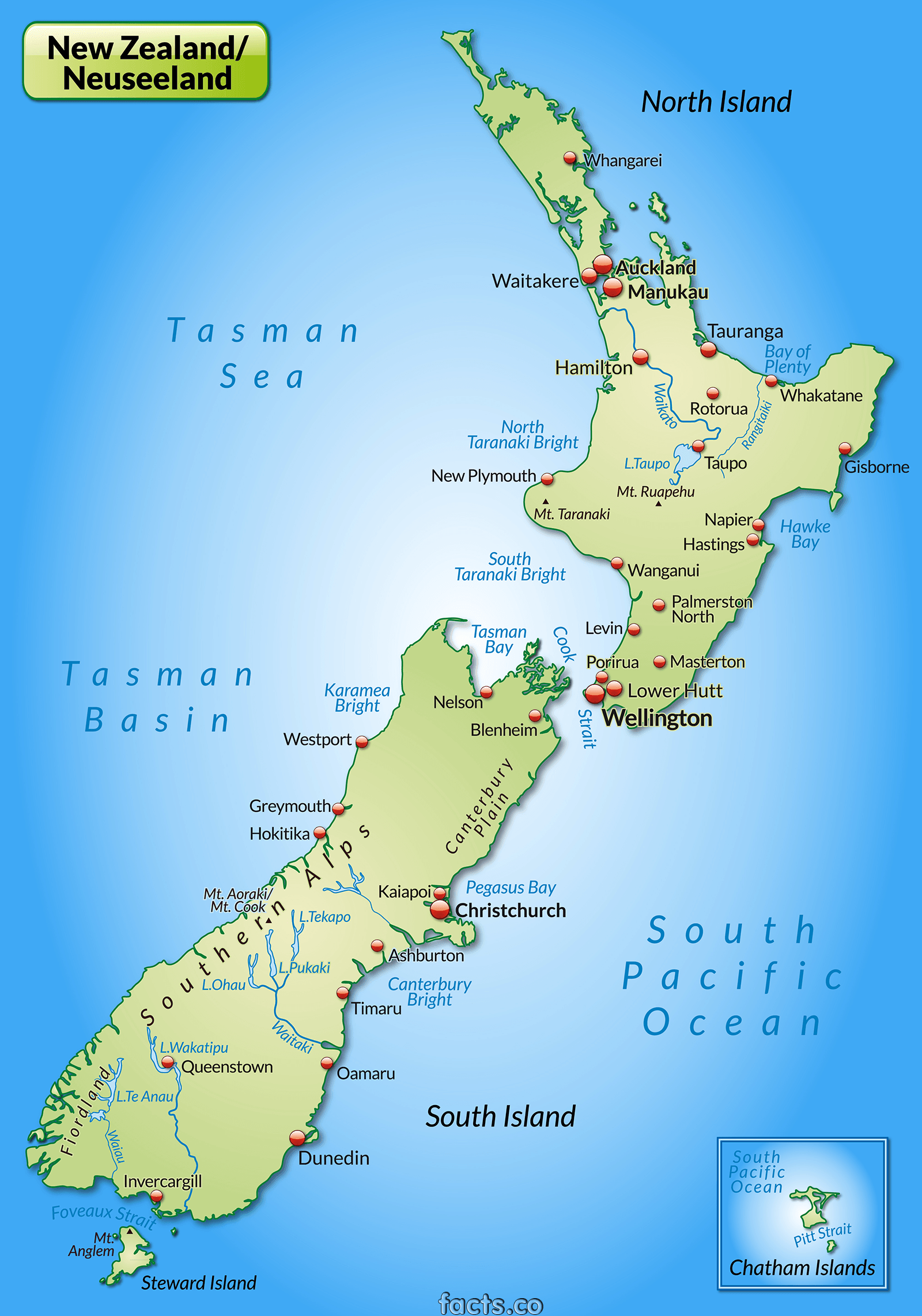 New Zealand Map - blank Political New Zealand map with cities ...