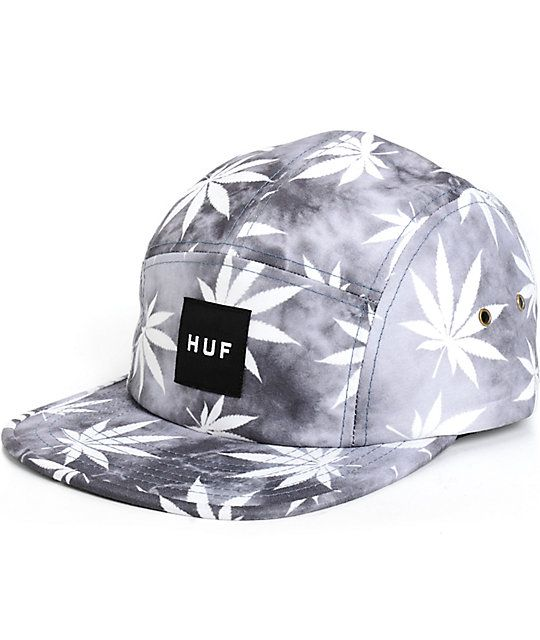 f04a4f06 Cop a dank new look with a black and white tie dye volley design with an  all over white weed leaf print and a HUF box logo at the front.
