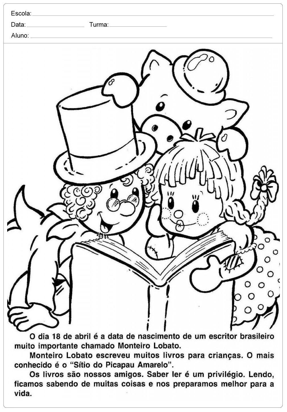 Atividades Dia Do Livro Infantil Monteiro Lobato Dia Nacional
