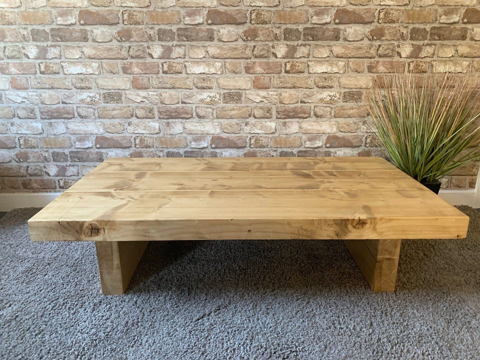 Low Coffee Table Farmhouse Table Distressed Chunky Wooden Etsy Houten Meubels Meubels Deco [ 1191 x 1588 Pixel ]