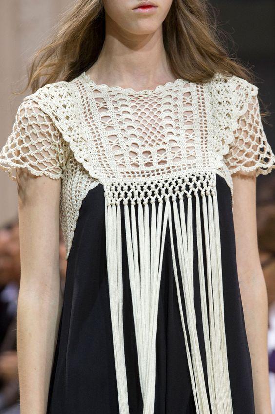 Veronique Branquinho At Spring 2016 Crochet Yoke Vestidos De Croche Trico E Croche Moda Croche