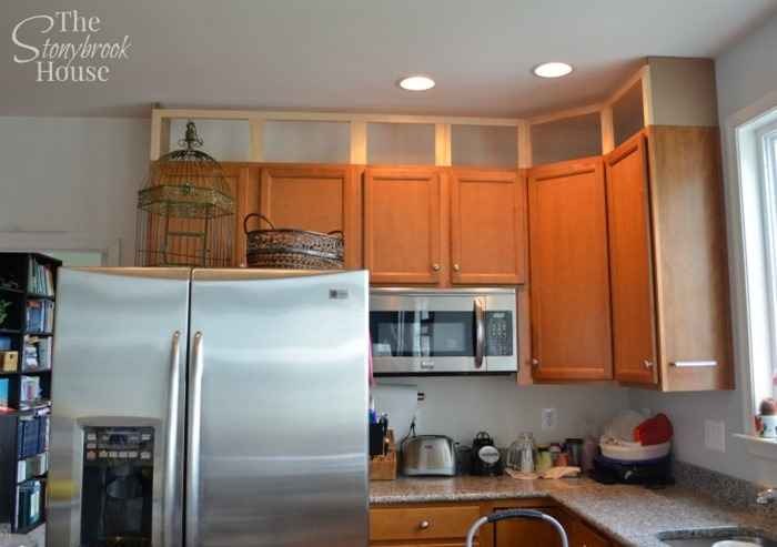 Extending Kitchen Cabinets To The Ceiling - Kitchen cabinets to ceiling, Upper kitchen cabinets, Cabinets to ceiling, Diy kitchen, Building kitchen cabinets, Diy kitchen cabinets - DIY Building Cabinet Extension to the Ceiling