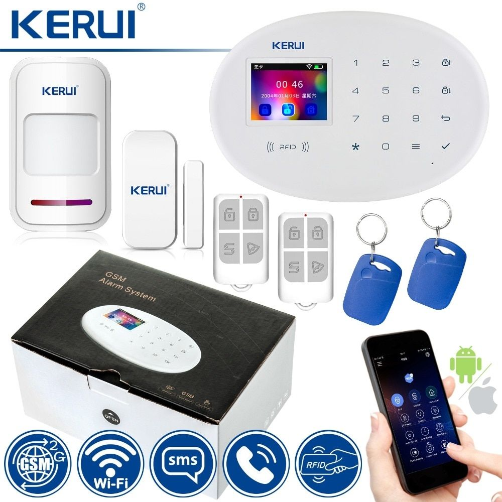 Kerui Wifi Gsm Home Security Alarm System With 2 4 Inch Tft Touch Panel App Control Rfid Home Security Alarm System Home Security Alarm Wireless Home Security