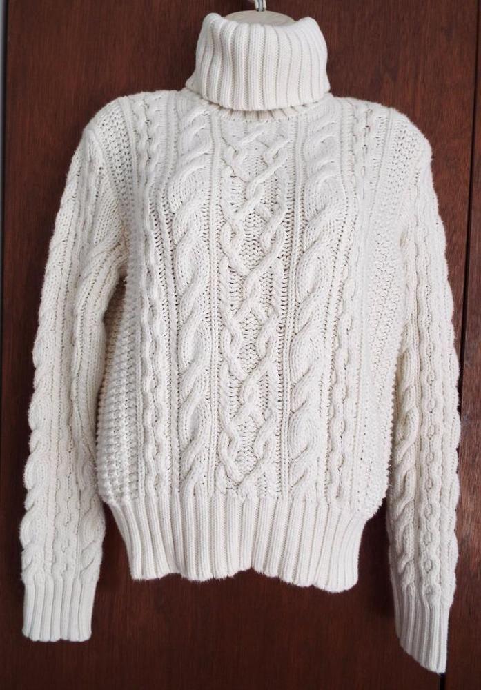 Ralph Lauren Sweater Heavy Cable Knit 100% Cotton Turtleneck Beige ...