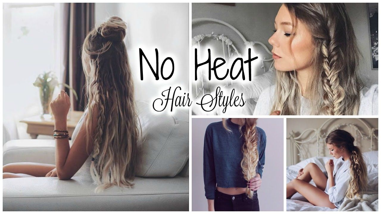 Minute No Heat Hairstyles  Quick u Easy  YouTube  Hair  Pinterest