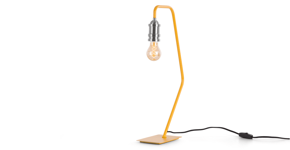 Starkey table lamp mustard and nickel from made com yellow express delivery featuring a classic made com design element the nickel drop cap