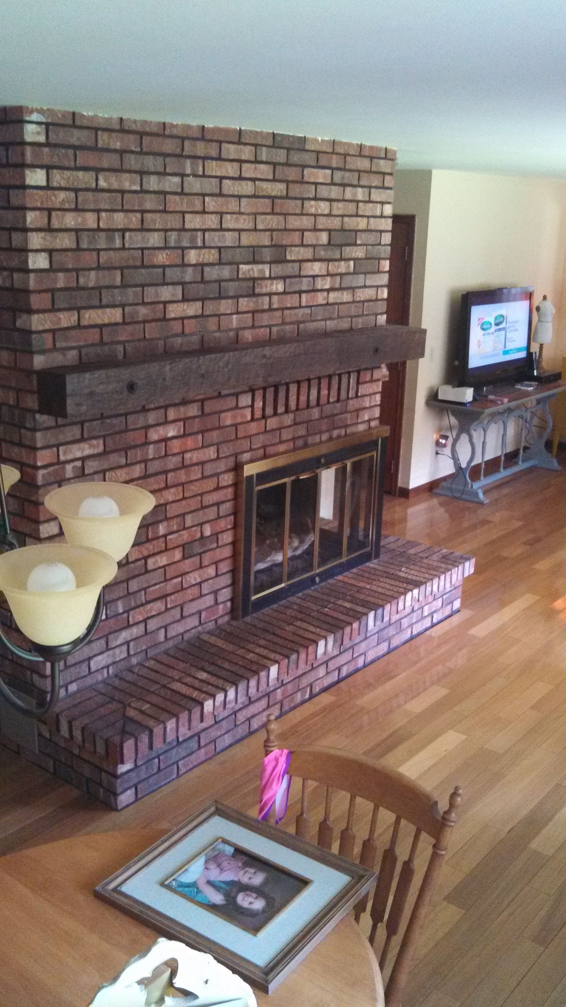 Before Brick Fireplace Makeover