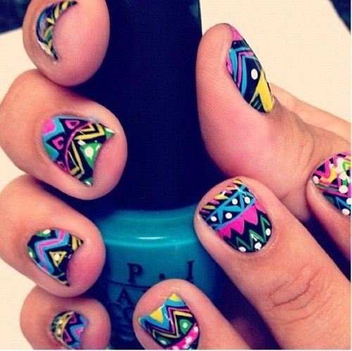 Bright tribal nails! Amazing.