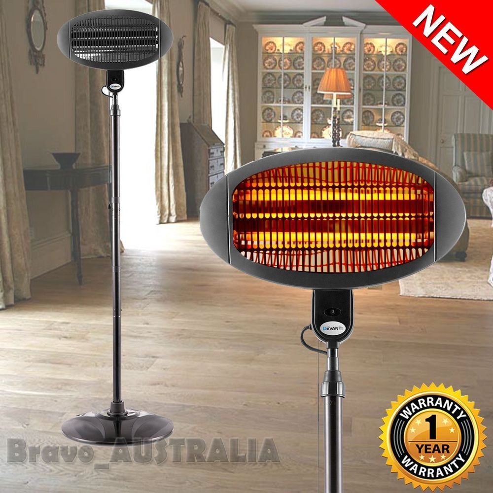 Electric patio heater pedestal outdoor indoor portable cafe floor