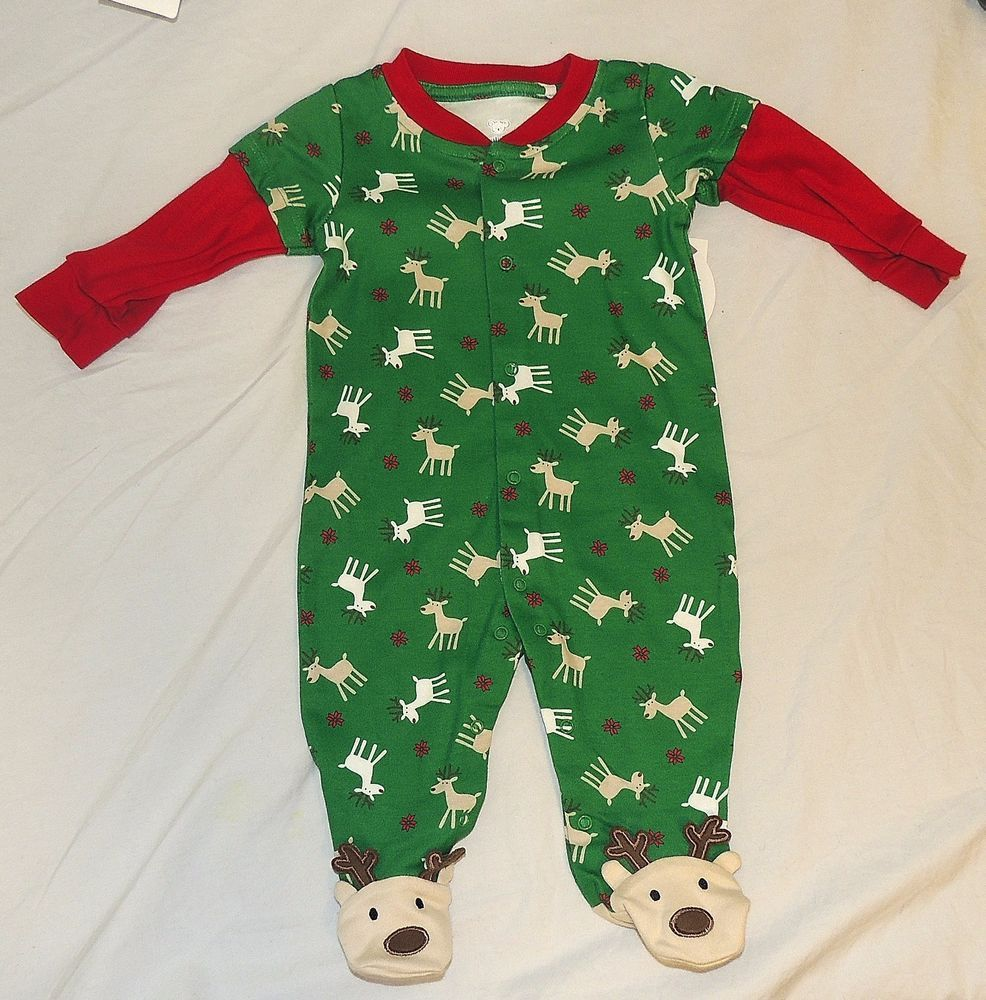 a25f9e22d NEW Unisex Baby Reindeer Pajamas w Feet Christmas Green Red Sizes NB ...