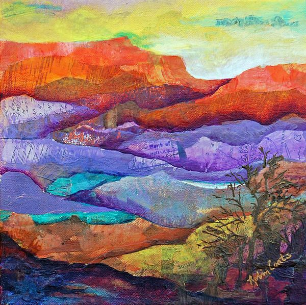 Canyon River Landscape By Robin Coats Paper Collage Art Collage Landscape Tissue Paper Art
