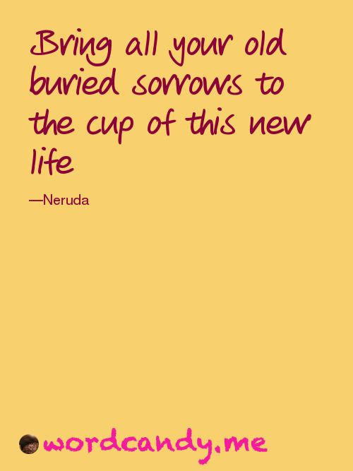 Bring all your old buried sorrows to the cup of this new life