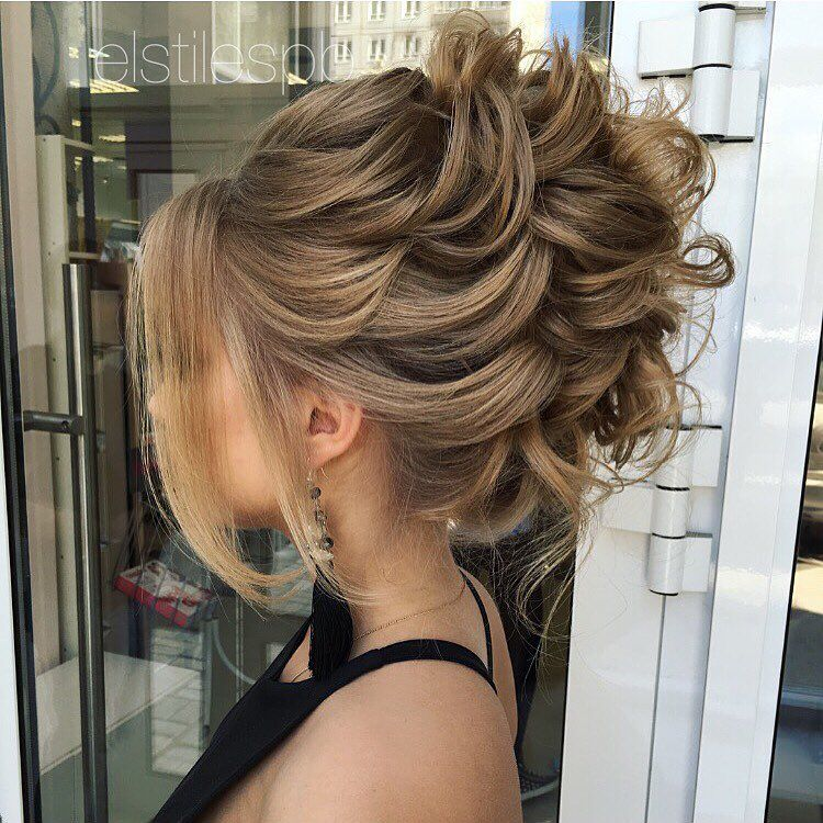 Prom Hairstyles 40 most delightful prom updos for long hair in 2016 liked on polyvore featuring hair Messy Loose Formal Updo