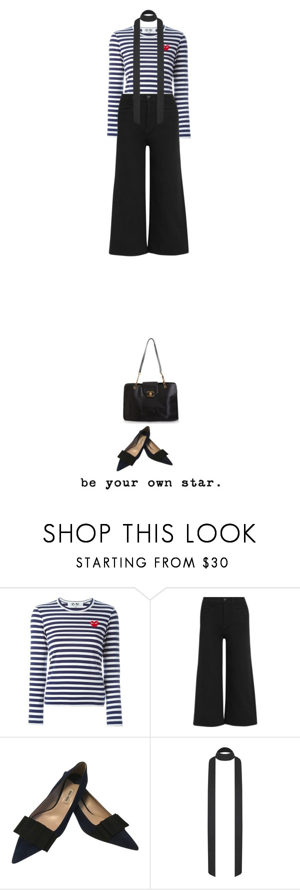 """""""your own star."""" by malou-malou ❤ liked on Polyvore featuring Play Comme des Garçons, J.Crew, Miu Miu, Chanel, women's clothing, women, female, woman, misses and juniors"""