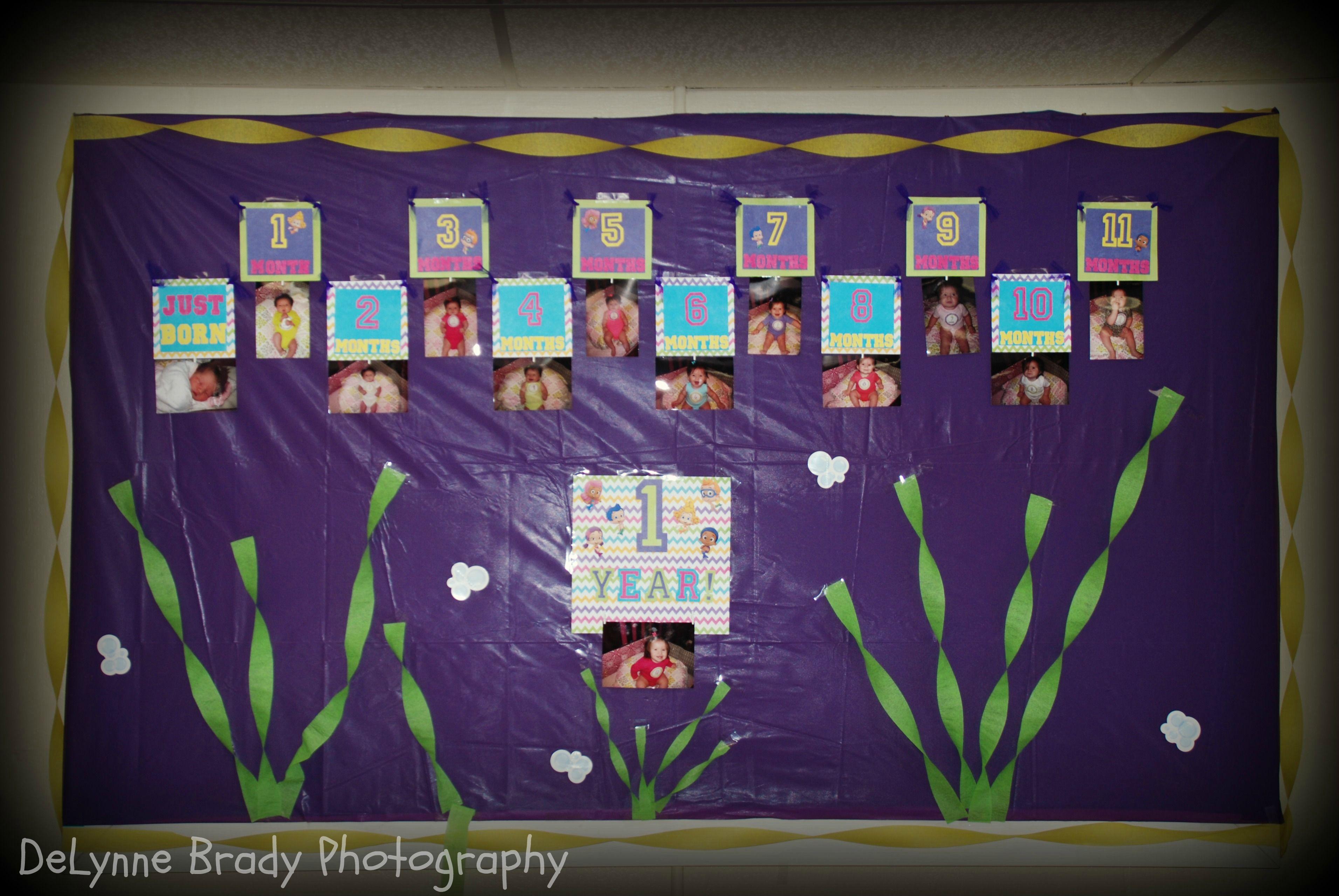 Bubble Guppies 1st Birthday Month Banner   Aleigh\'s 1st Birthday ...