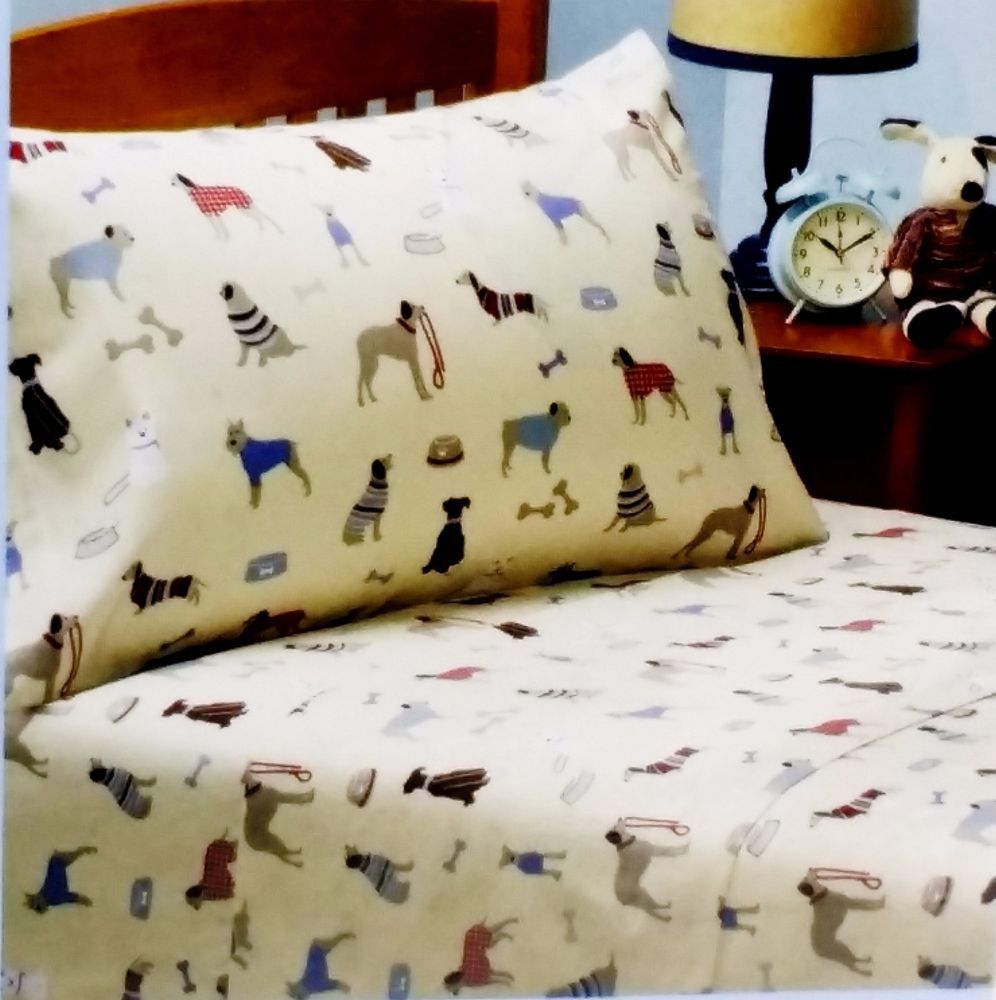 Twin Flannel Dog Lover Sheet Set Scottie Pug Chihuahua Dachshund