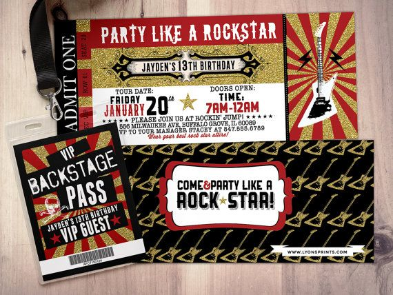 ROCK STAR concert ticket birthday party invitation by LyonsPrints - concert ticket birthday invitations