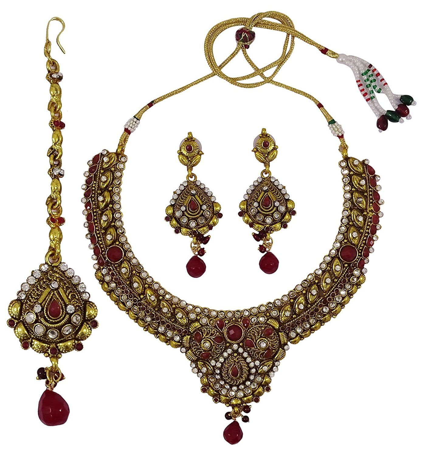 Matra pcs goldtone cz stone necklace set traditional indian bridal