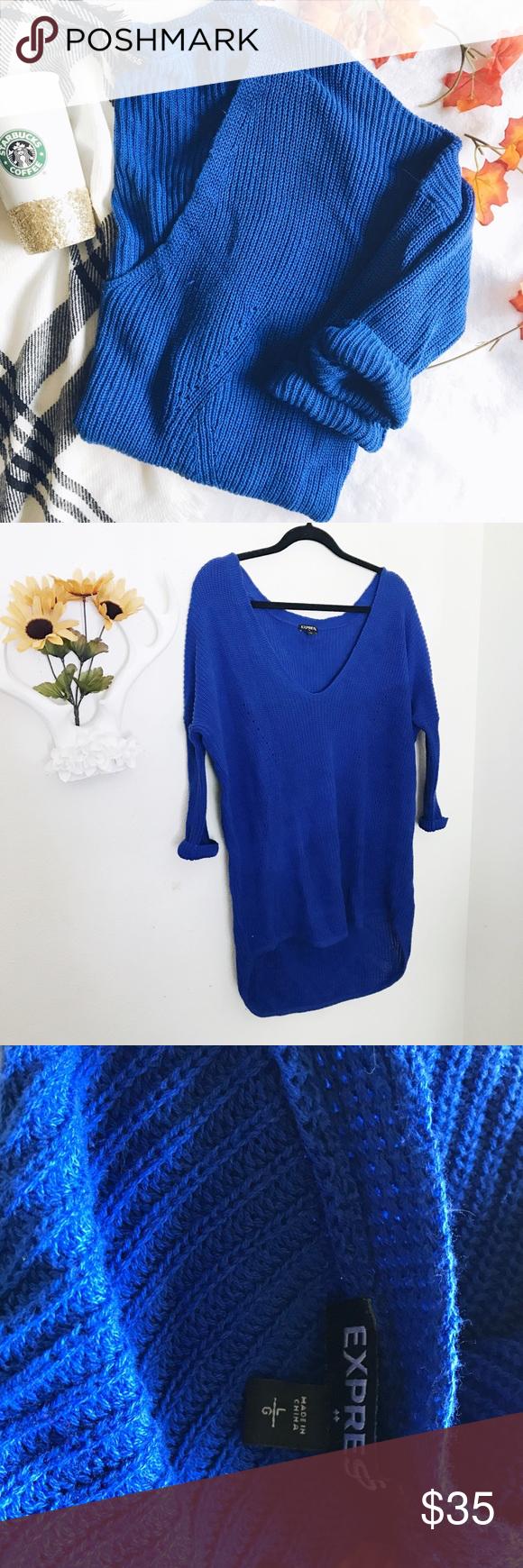 Express long oversized royal blue sweater | Royal blue sweater ...
