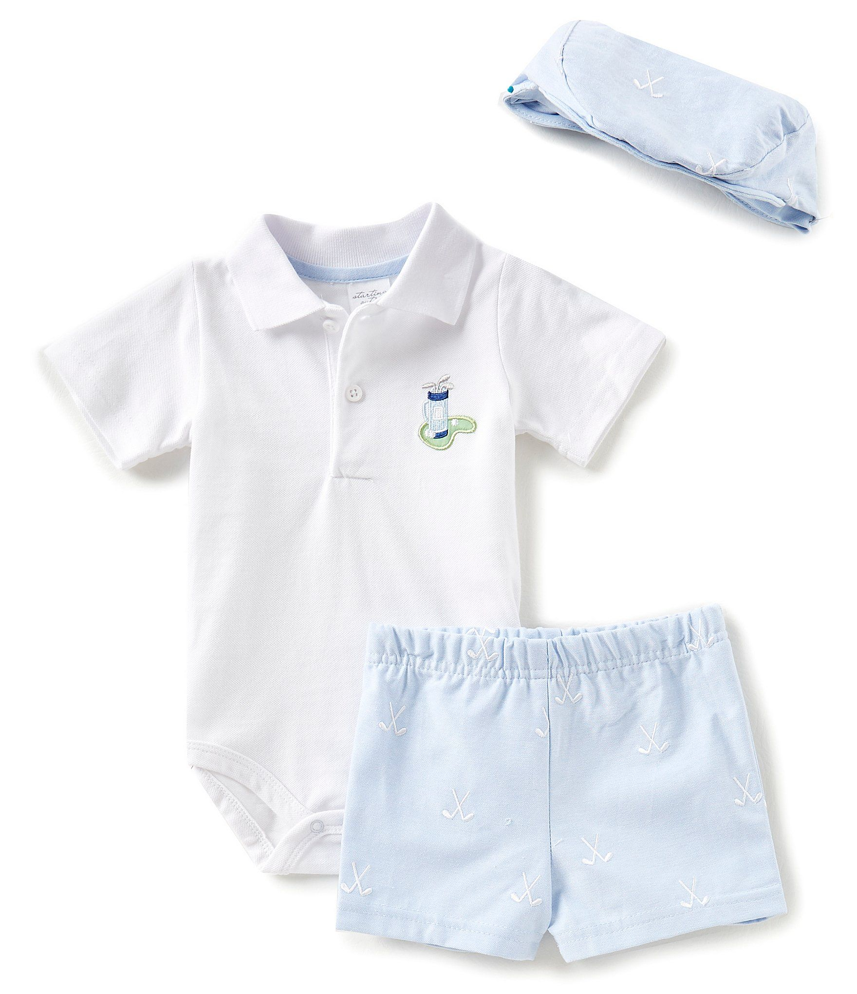 Starting Out Baby Boys Newborn 9 Months Golf Polo Bodysuit Shorts